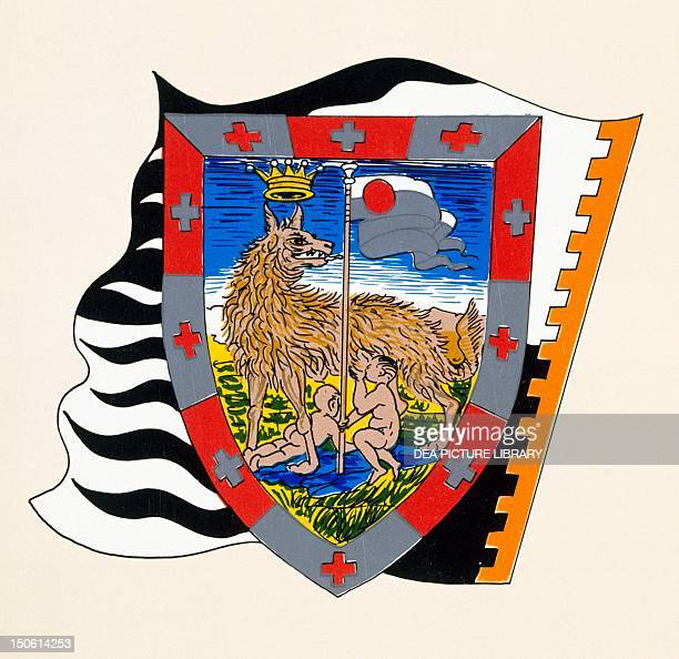 Coats of arms for the Palio of Siena for the Lupa nobile contrade Heraldry Italy