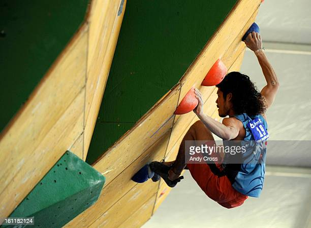 Atsushi Shimizu, from Japan, negotiates a climbing wall during the IFSC Bouldering World Cup semi-finals at the 10th annual Teva Mountain Games in...