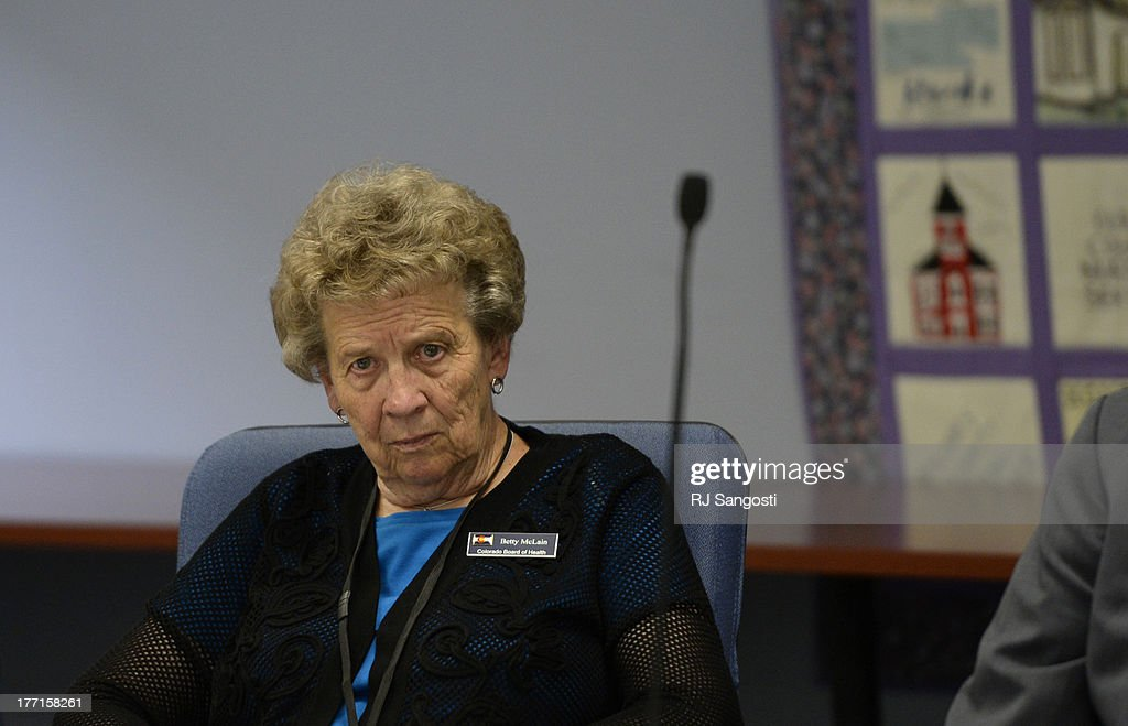 Betty McLain, on the Colorado Board of Health, listens to marijuana patients on Colorado's registry during a meeting, August 21, 2013. The patients are calling for the state to shut down its list of about 107,000 people who have cards that allow them to buy marijuana at dispensaries.