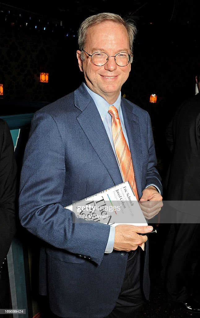 Co-Author and Executive Chairman of Google Eric Schmidt attends the launch of 'The New Digital Age: Reshaping The Future Of People, Nations and Business' by Eric Schmidt and Jared Cohen, hosted by Jamie Reuben, at Loulou's on May 28, 2013 in London, England.