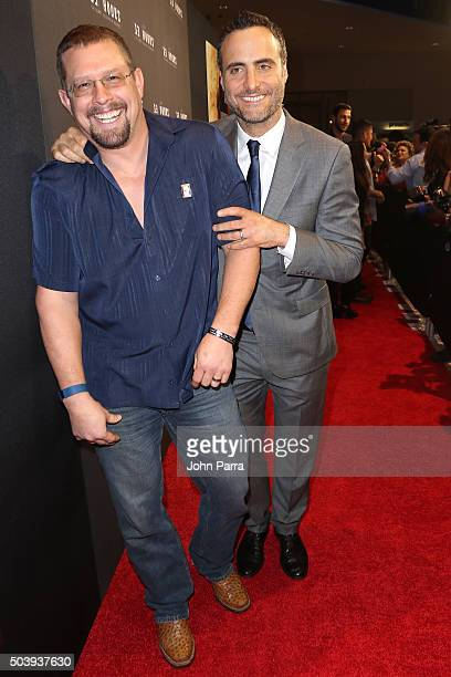 Coauthor of '13 Hours' John 'Tig' Tiegen and Dominic Fumusa attend the Miami Fan Screening of the Pramount Pictures film '13 Hours' at the AMC...