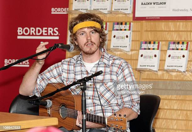 CoAuthor of the book 'Soul Pancake' Devon Gundry before performing a song during a book signing for 'SoulPancake' on November 17 2010 in Los Angeles...