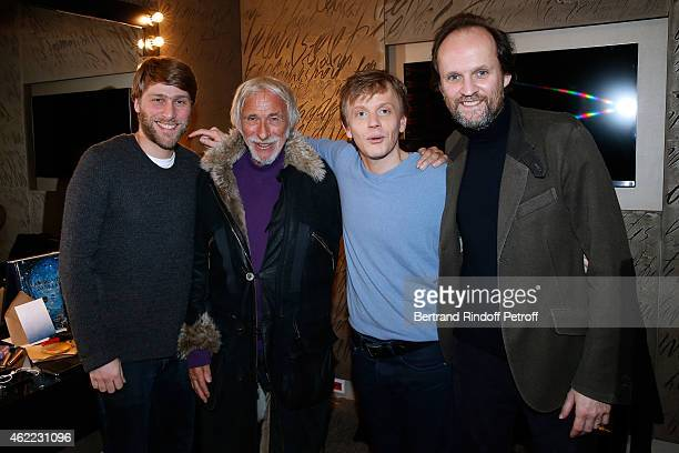 Coautor of the show Tom Dingler Actor Pierre Richard Humorist Alex Lutz and Producer JeanMarc Dumontet attend Alex Lutz One man Show at L'Olympia on...