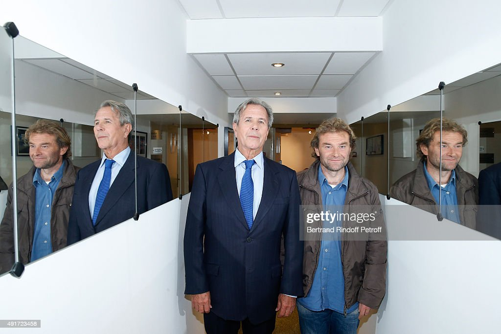 Co-Autors of the Book 'Je tape la manche', President of the State Council Jean-Louis Debre and 'Sans-domicile fixe' (Fixed homeless) Jean-Marie Roughol attend the 'Vivement Dimanche' French TV Show at Pavillon Gabriel on October 7, 2015 in Paris, France.