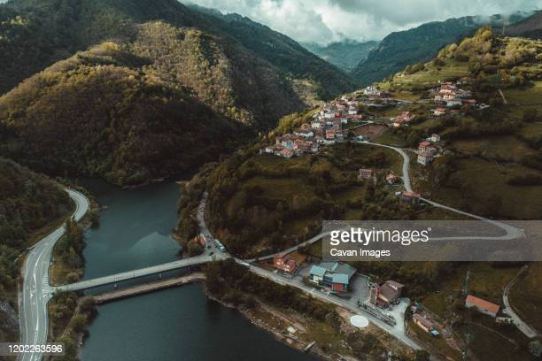 coballes town from aerial view - drainage_basin stock pictures, royalty-free photos & images