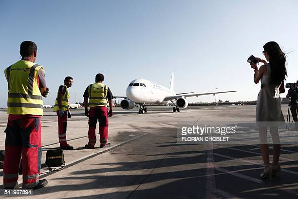 A Cobalt aeroplane taxies on the tarmac at Larnaca airport on May 30 during a blessing ceremony ahead of the launch of the new Cyprusbased airline...