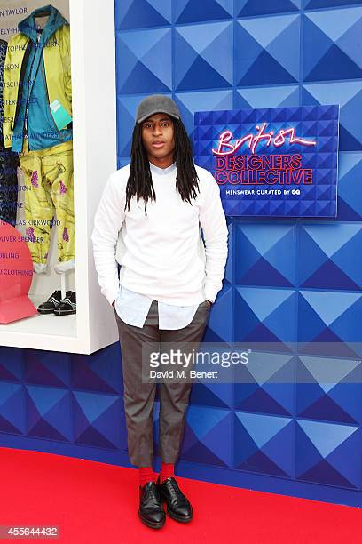 Cobbie Yates attends the official opening of British Designers' Collective Menswear curated by GQ at Bicester Village on September 18 2014 in...