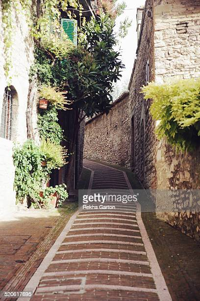 cobbled lane in assisi - rekha garton stock pictures, royalty-free photos & images