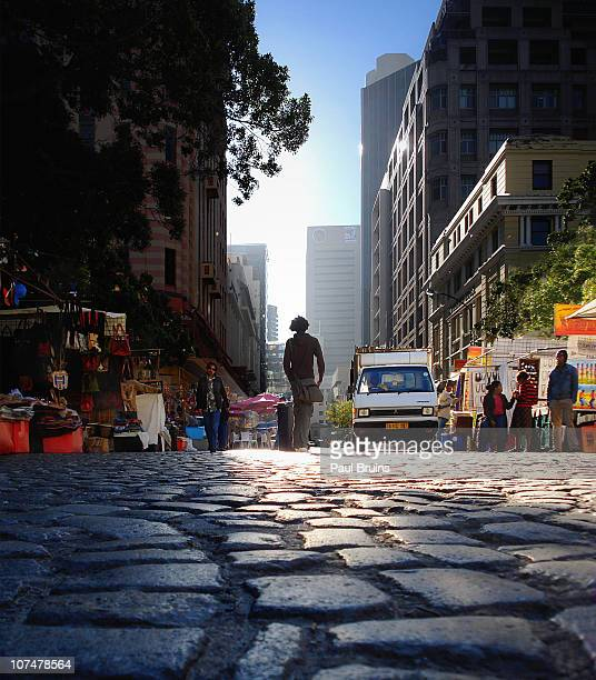 Cobbled road on Greenmarket Square in the center of Cape Town