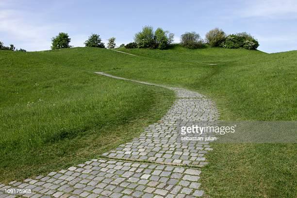 cobbled stone path on a slope - kullersten bildbanksfoton och bilder