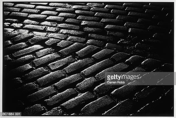 Cobbled street, close-up, full frame (B&W)