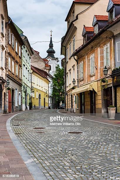 Cobbled street, Ljubljana, Slovenia, Europe