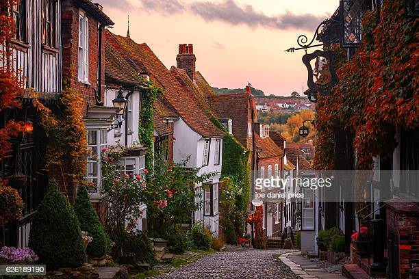 cobbled street, mermaid street, rye, east sussex, england - sussex stock pictures, royalty-free photos & images