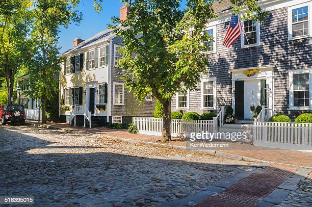 cobbled streets and classic homes - nantucket stock pictures, royalty-free photos & images