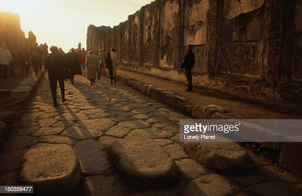 Cobbled streets in the ancient city of Pompeii.