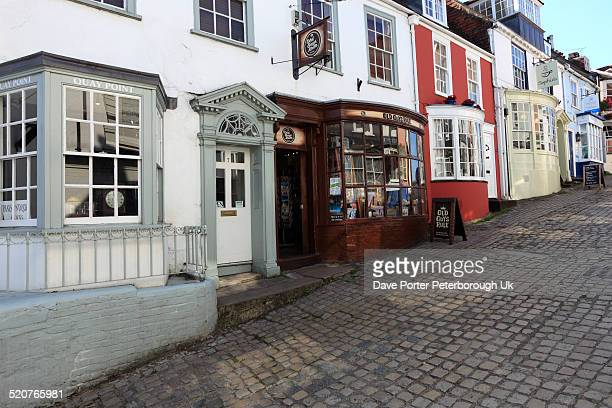 cobbled streets, quay hill, lymington town quaysid - lymington stock photos and pictures