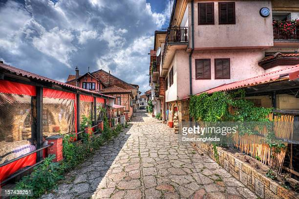 cobblestone alley in southeast europe - macedonia country stock pictures, royalty-free photos & images