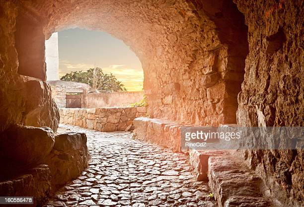 Cobblestone Passage With Vault In Medieval Village, Corsica Fran