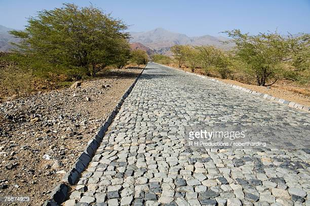 cobblestone road on way to ribiera grande from porto novo, santo antao, cape verde islands, africa - cape verde stock pictures, royalty-free photos & images