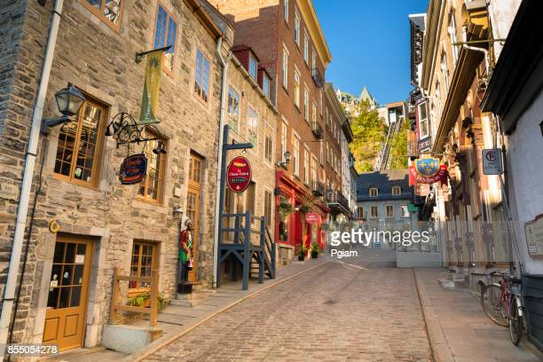 Cobblestone roads of Old Town Quebec City in Canada
