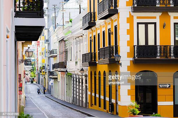 Cobblestone street and buildings in Old San Juan, Puerto Rico
