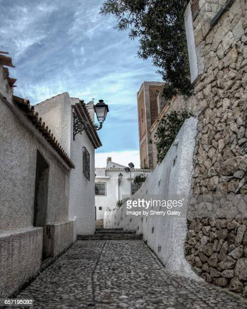 Cobblestone street in Altea, Spain