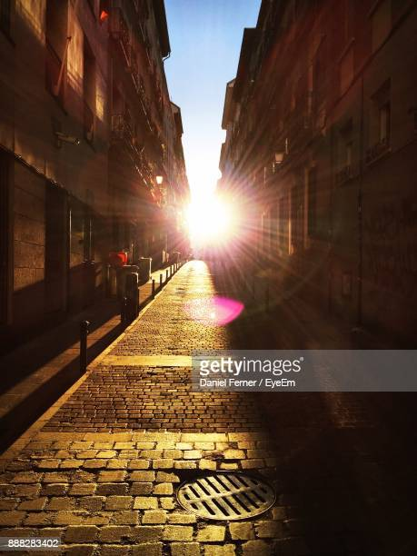 Cobblestone Street In City During Sunny Day