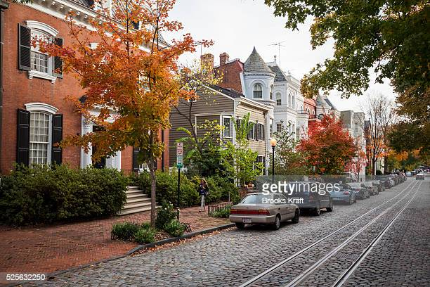 A cobblestone street in Georgetown is a historic neighborhood located in northwest Washington DC situated along the Potomac River It is popular for...