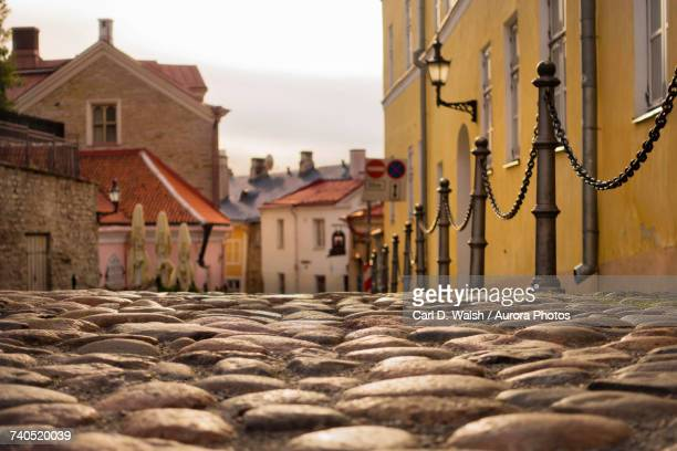 Cobblestone street in old town of Tallinn