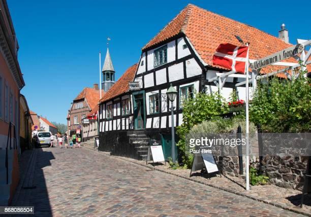 Cobblestone street  in the historic city, Ebeltoft, Denmark