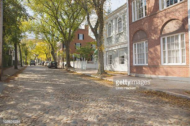 cobblestone street - nantucket stock pictures, royalty-free photos & images