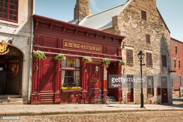 cobblestone streets in old montreal quebec canada - vieux montréal stock pictures, royalty-free photos & images