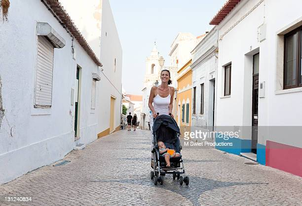 cobblestone streets - lagos portugal stock photos and pictures