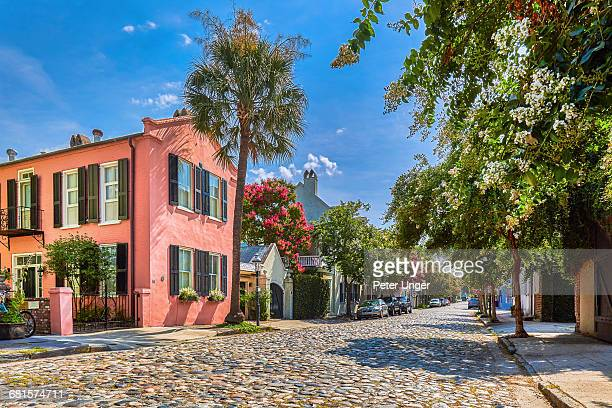 cobblestoned street and historic buildings,usa - template_talk:south_carolina stock pictures, royalty-free photos & images