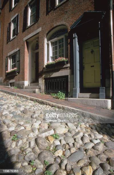 Cobblestones on Acorn Street Beacon Hill downtown Boston Massachusetts 1975