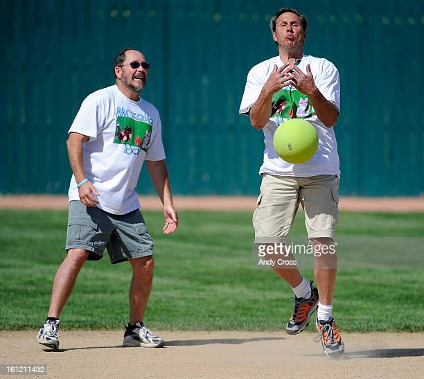 DENVER COBen Siller right can't get ahold of this pop fly ball during the 3rd annual McKaila Ball a kickball party at the Colorado Rockies Fastpitch...