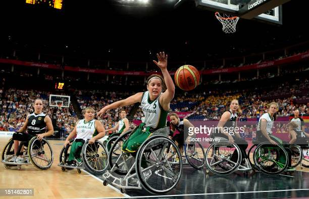 Cobi Crispin of Australia in action during the Women's Wheelchair Basketball Gold Medal Match between Australia and Germany on day 9 of the London...