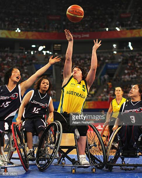 Cobi Crispin of Australia shoots during the Bronze Medal Wheelchair Basketball match between Australia and Japan at the National Indoor Stadium...