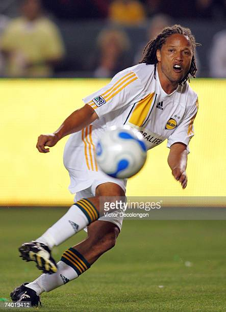 Cobi Jones of the Los Angeles Galaxy chips a pass near the Chivas USA goal box in second half during their MLS match during their MLS match at Home...