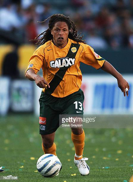 Cobi Jones of the Los Angeles Galaxy moves the ball upfield during their contest against the Colorado Rapids at Home Depot Center May 8 2005