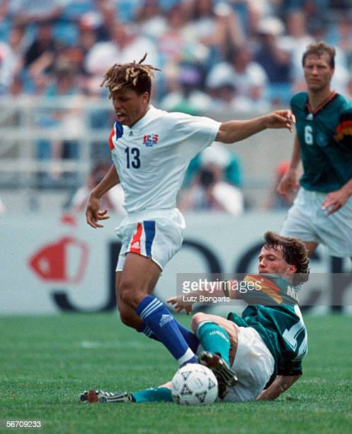 Cobi Jones of USA and Lothar Matthaeus of Germany in action during the US Cup match between Germany and USA on June 13 1993 in Chicago United States