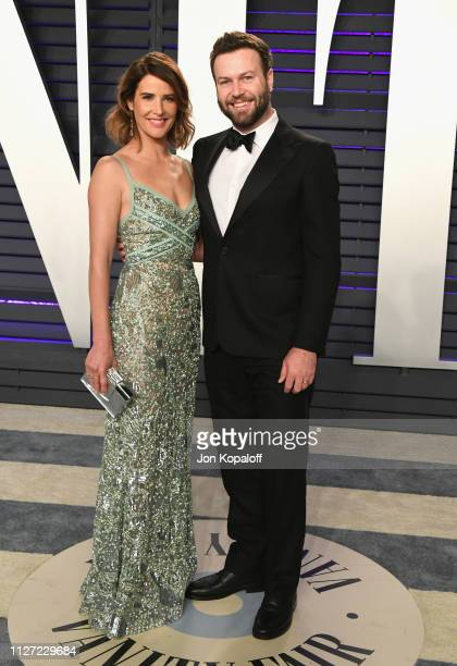 Cobie Smulders and Taran Killam attend the 2019 Vanity Fair Oscar Party hosted by Radhika Jones at Wallis Annenberg Center for the Performing Arts on...