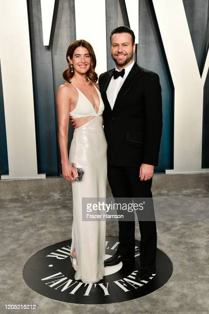 Cobie Smulders and Taran Killam attend the 2020 Vanity Fair Oscar Party hosted by Radhika Jones at Wallis Annenberg Center for the Performing Arts on...