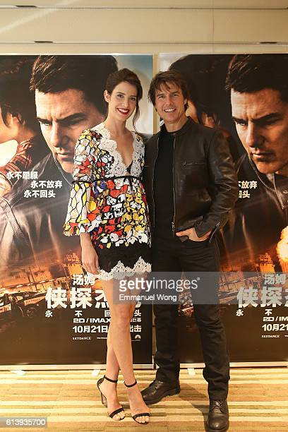 Cobie Smulders and Tom Cruise attend the red carpet event of the Paramount Pictures title 'Jack Reacher Never Go Back' on October 11 2016 at Cinema...
