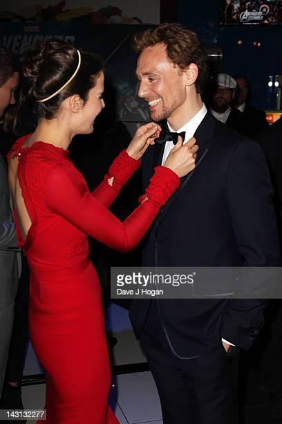 Cobie Smulders and Tom Hiddleston attend the European premiere of Marvel's 'Avengers Ensemble' at The Vue Westfield on April 19, 2012 in London,...