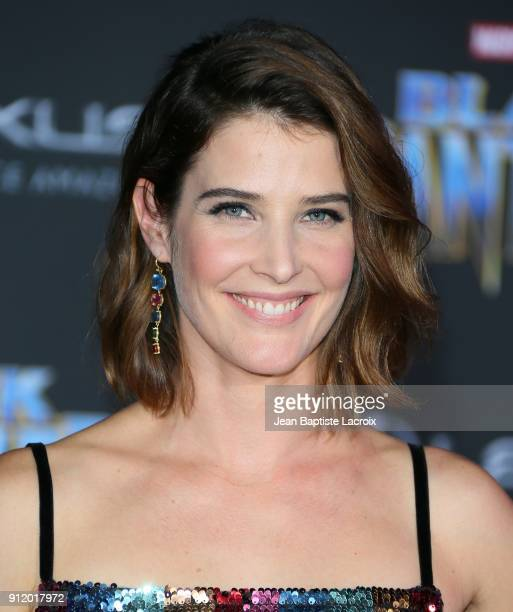 Cobie Smulders attends the premiere of Disney and Marvel's 'Black Panther' on January 28 2018 in Los Angeles California