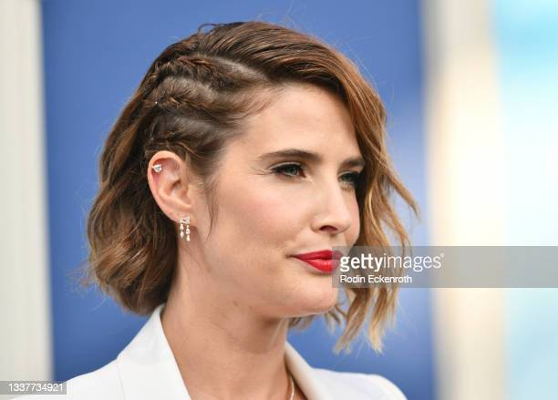 """Cobie Smulders, hair fashion detail, attends the premiere of FX's """"Impeachment: American Crime Story"""" at Pacific Design Center on September 01, 2021..."""