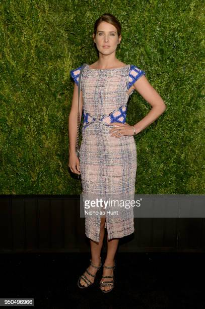Cobie Smulders wears a multicolored fantasy tweed dress Look 8 from the SpringSummer 2018 Act 2 ReadytoWear Collection with CHANEL Fine Jewelry...