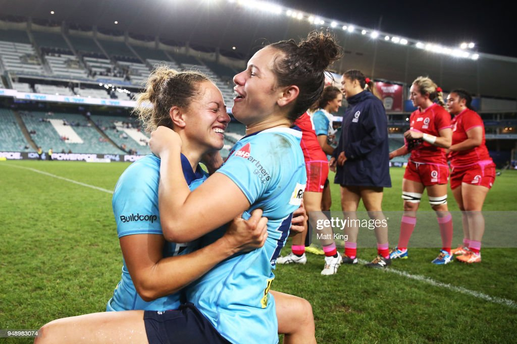 Cobie-Jane Morgan (L) and Shanice Parker (R) of New South Wales celebrate victory during the Super W Grand Final match between the the New South Wales Women and the Queensland Women at Allianz Stadium on April 20, 2018 in Sydney, Australia.