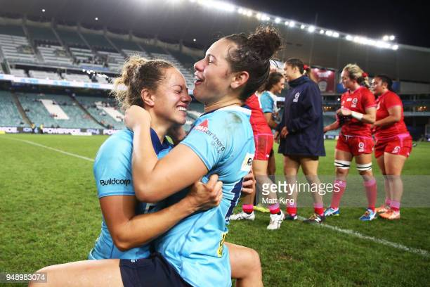 CobieJane Morgan and Shanice Parker of New South Wales celebrate victory during the Super W Grand Final match between the the New South Wales Women...